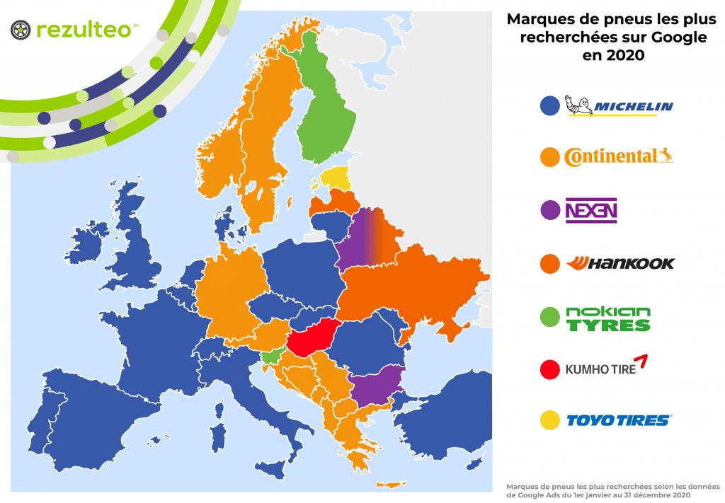 Carte des marques de pneus les plus recherchées en Europe sur Google
